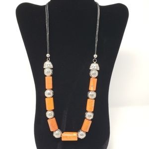 Orange and Silver Large Bead Necklace
